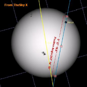 Tracks of Venus (blue line) and the sun (yellow line) during the Venus transit. Since both were moving Venus would exit the sun closer to the northern edge (at the right) than is indicated in this picture. North is to the right (and slightly up) to match the visual impression of the event in the sky