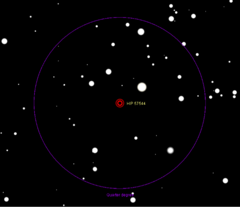 Gliese 445. The circle is 15 arc minutes on the sky. North is up.