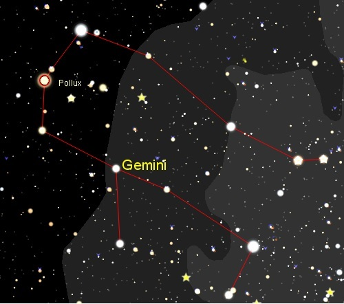 Gemini with Pollux at northeast —north is up Star chart generated by TheSkyX © Software Bisque, Inc. All rights reserved. www.bisque.com
