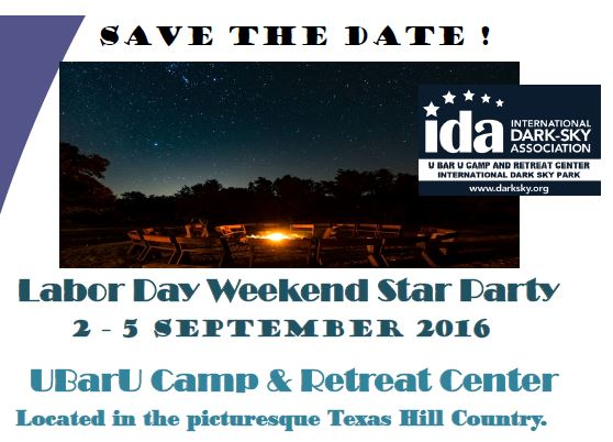 Labor Day Weekend Star Party at UBarU Camp & Retreat Center