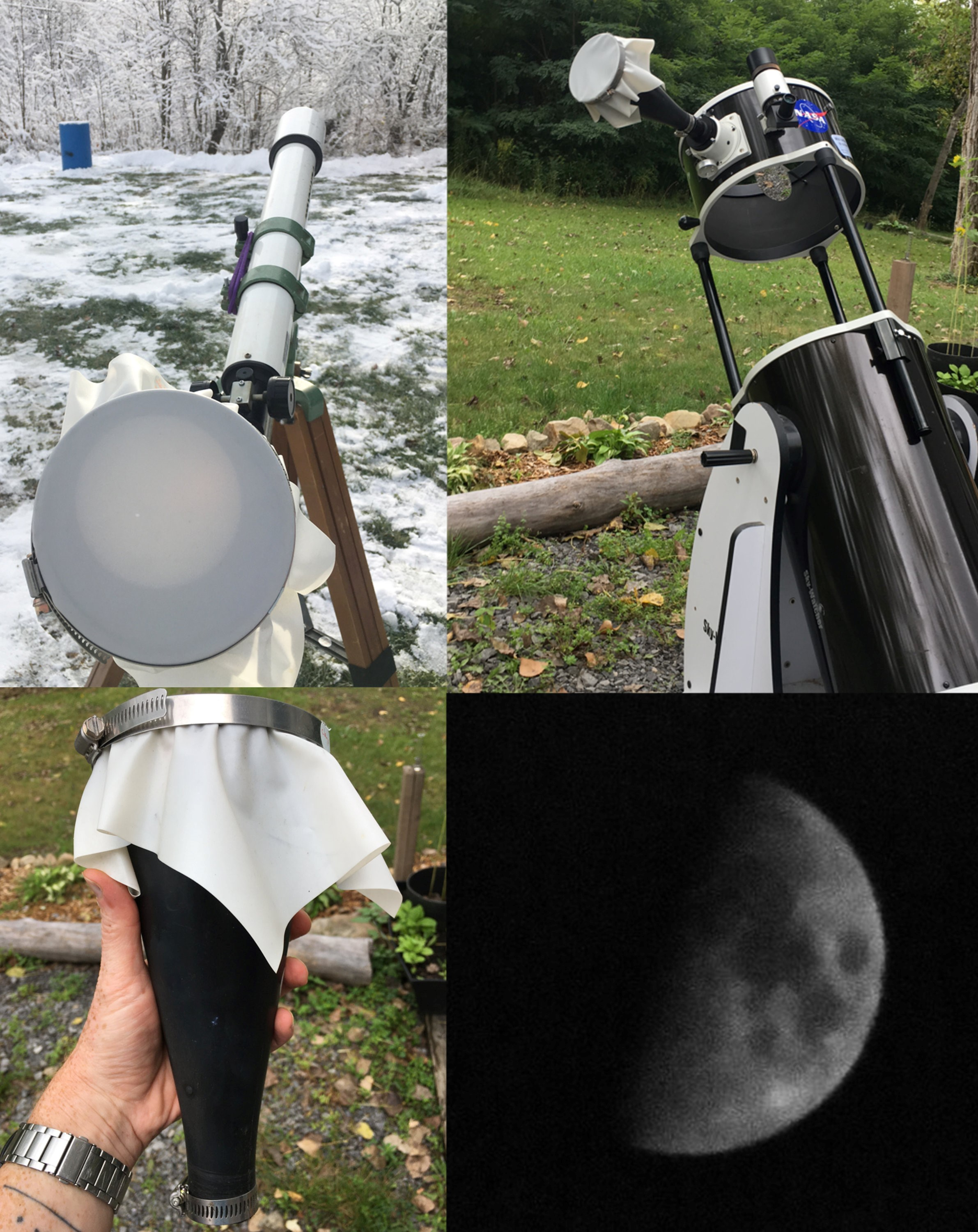 Four-photo mosaic, starting with the image of a hand holding a Sun Funnel in the bottom left; top left is a refractor telescope in the snow with a Sun Funnel showing the Sun; top right is a large Dobsonian telescope with a Sun Funnel; bottom right is a ghostly image of the Moon projected onto a Sun Funnel.