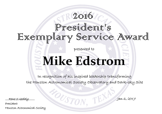 2016 Presidents Exemplary Service Award to Mike Edstrom