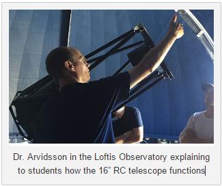 Kim Arvidsson at Loftis Observatory